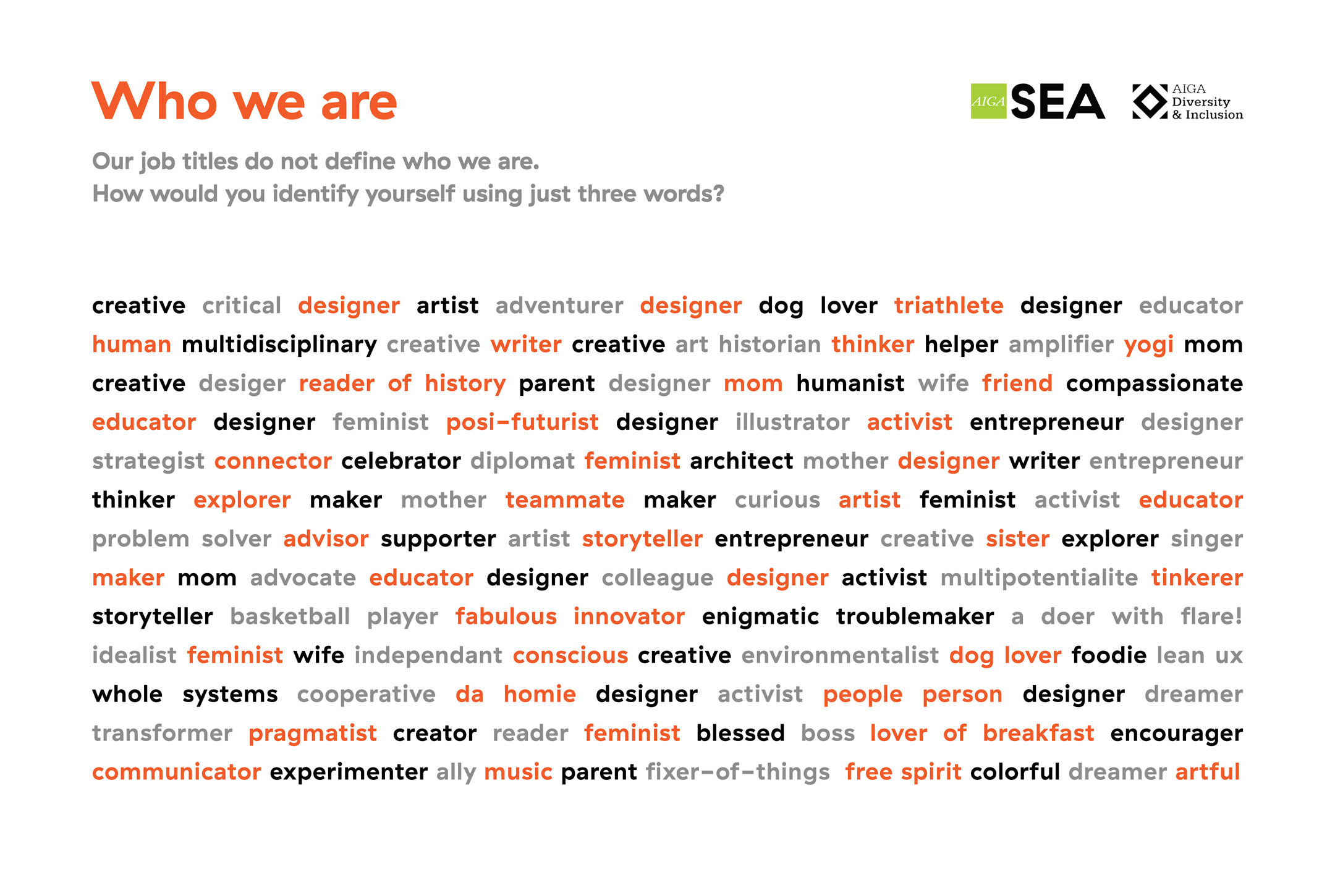 Our job title do not define who we are. How would you identify yourself in just 3 words? Answered by an array of creative titles ranging from designer to dreamer
